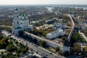 Luftbild der Stadt Astrachan, Russland